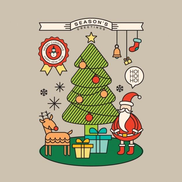 Arvore De Natal Ilustracao Colorida Dos Desenhos Animados De Papai