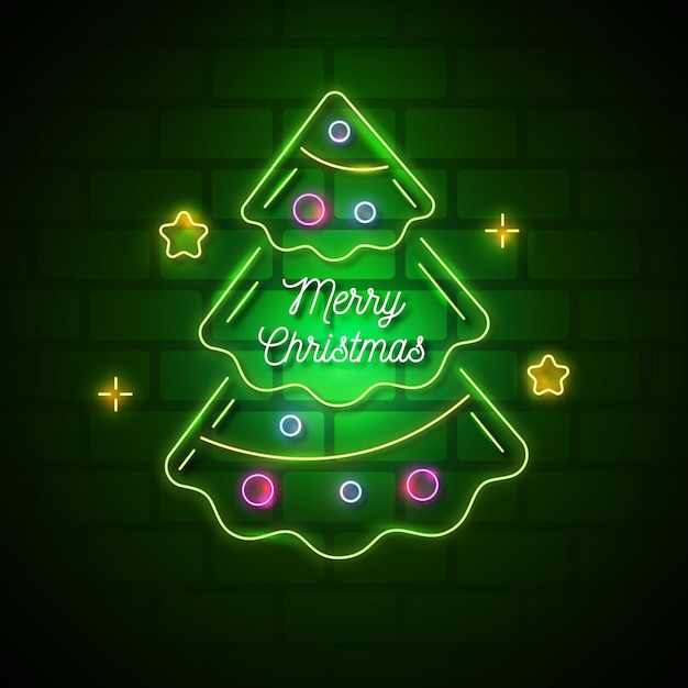 Árvore de natal neon Vetor Premium