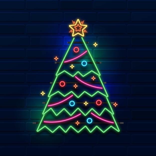 Árvore de natal neon Vetor grátis
