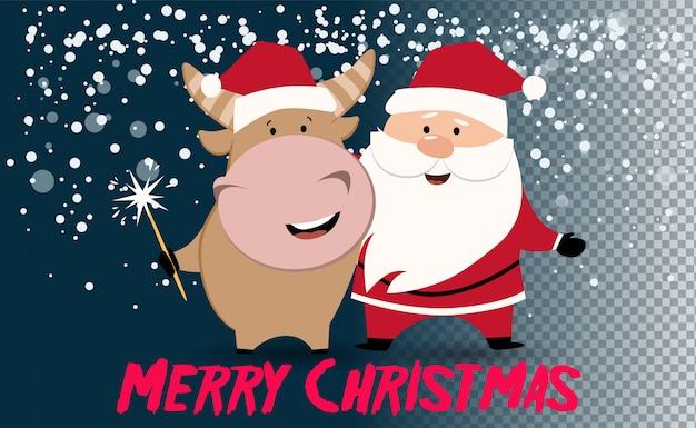 Árvore de natal ou ano novo. boi bonito, vaca, touro. 2021 fundo de inverno com vaca. signo de boi. ano chinês do boi 2021. feliz ano novo. Vetor Premium