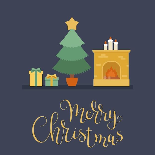 Árvore de natal, presentes de natal e uma lareira Vetor Premium