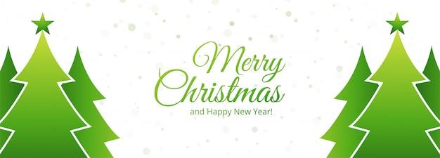 Árvore de natal verde cartão banner férias Vetor grátis