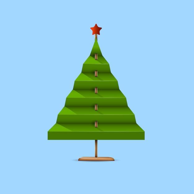 Árvore de natal verde criativa feita de papel e pau de madeira Vetor Premium