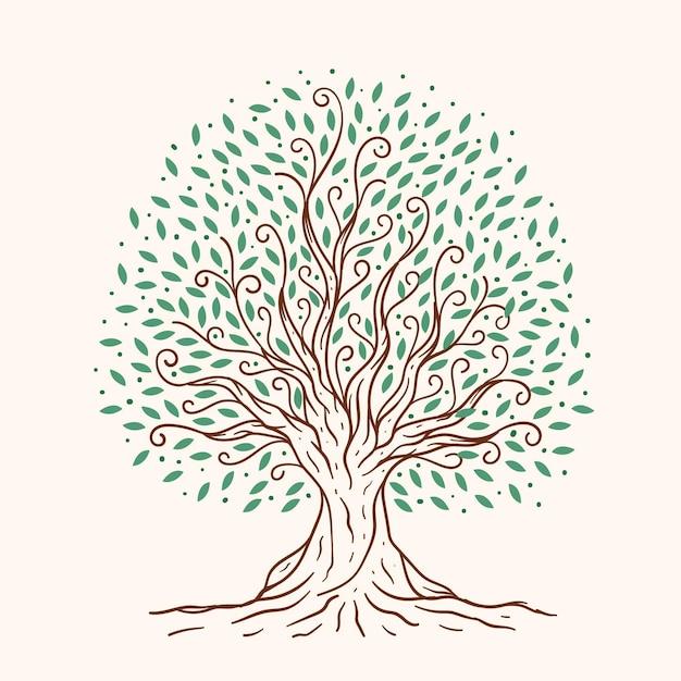 Árvore desenhada à mão Vetor Premium