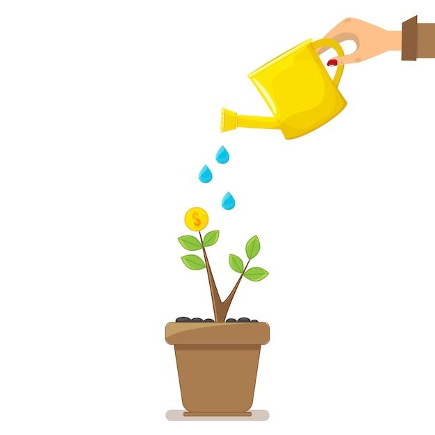 Árvore do dinheiro, mão com lata molhando a árvore do dinheiro. Vetor Premium