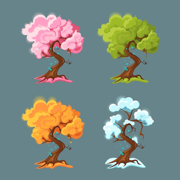 Árvore em cada uma das quatro estações. Vetor Premium