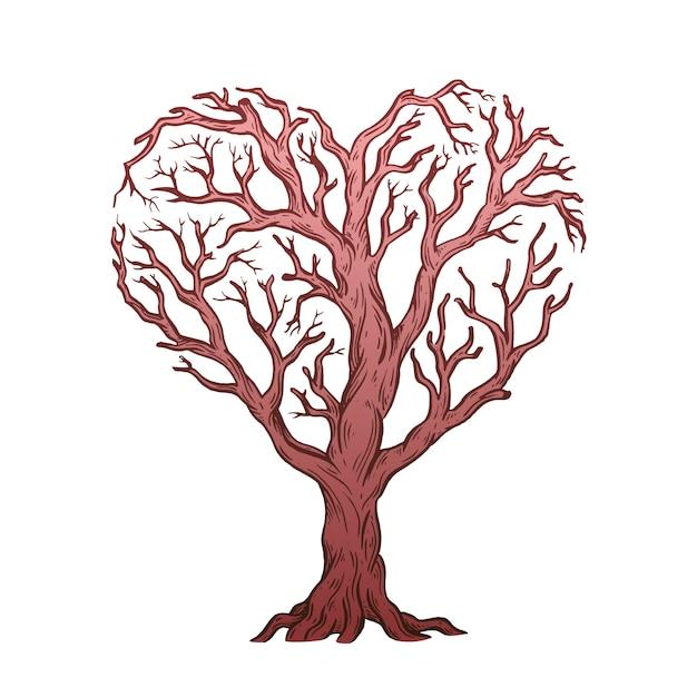Árvore em forma de coração. Vetor Premium