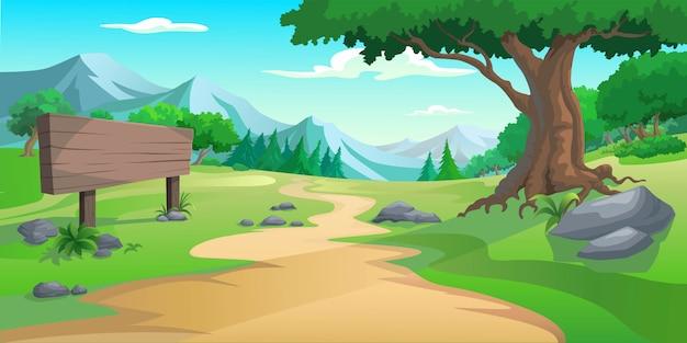 Árvore gráfica e colina Vetor Premium