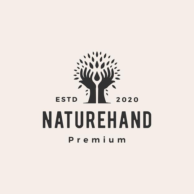 Árvore mão natureza folha água gota hipster vintage logotipo icon ilustração Vetor Premium
