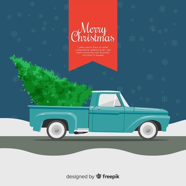 Árvore natal, ligado, caminhão pick-up Vetor grátis