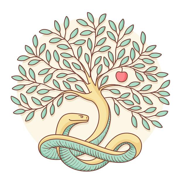 Árvore o conhecimento do bem e do mal com cobra, maçã. projeto colorido. ilustração vetorial Vetor Premium
