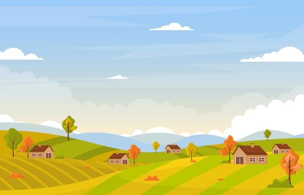 Árvore outono estação outono paisagem panorâmica colina amarela dourada Vetor Premium