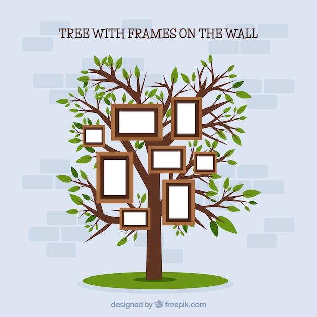 Árvore plana com molduras na parede Vetor grátis