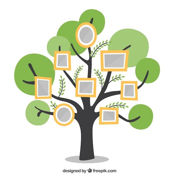 Árvore plana com quadros na parede Vetor grátis