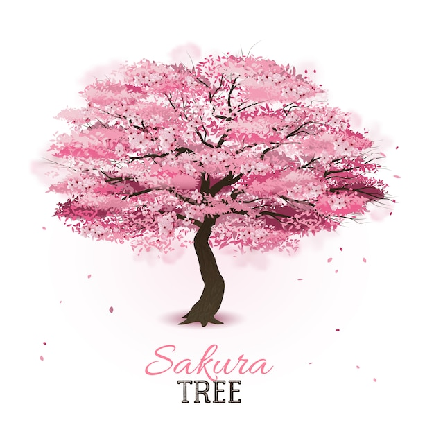 Árvore sakura realista Vetor grátis