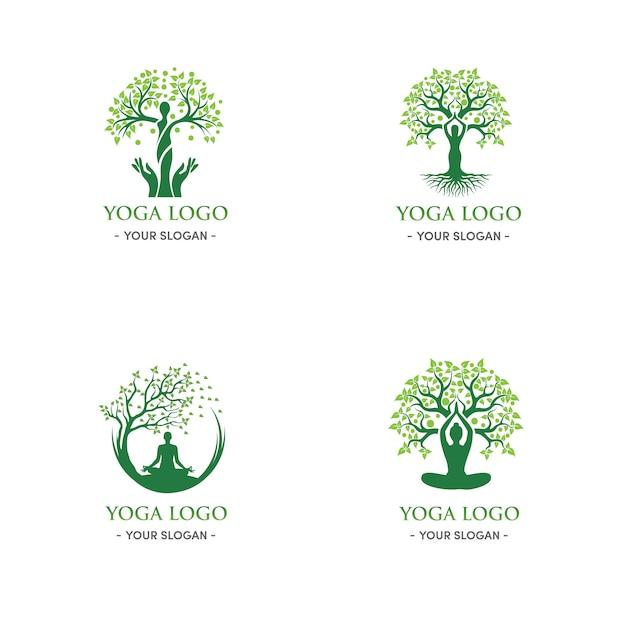 Árvore verde natural e logotipo de ioga mulher relaxamento Vetor Premium