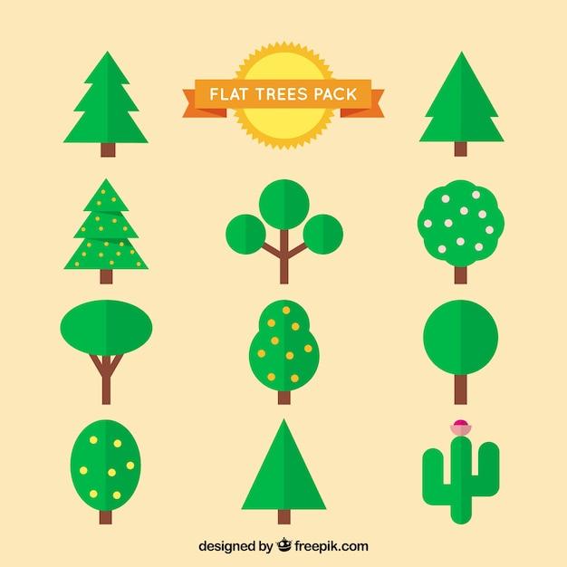 Árvores bloco liso Vetor grátis