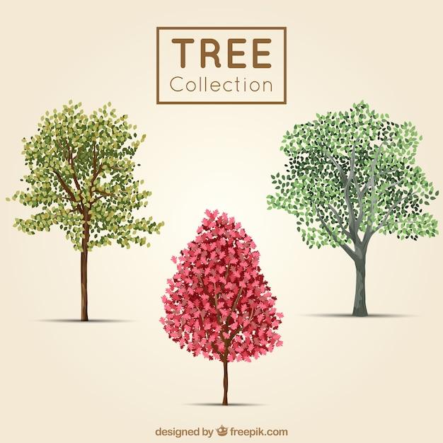 Árvores bonitos no estilo realista Vetor grátis