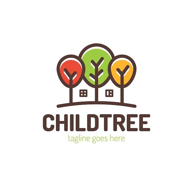 Árvores com design de logotipo em casa. Vetor Premium