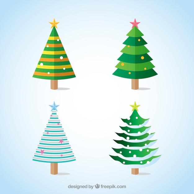 Árvores de natal decorativas com estrelas em cores diferentes Vetor grátis
