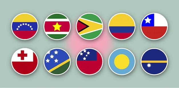 As 10 principais bandeiras do mundo Vetor Premium