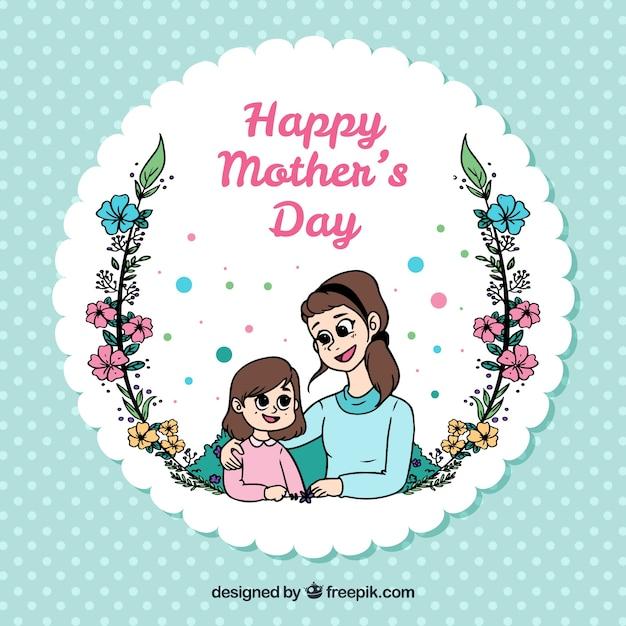 Às bolinhas fundo com mãe e filha feliz Vetor grátis