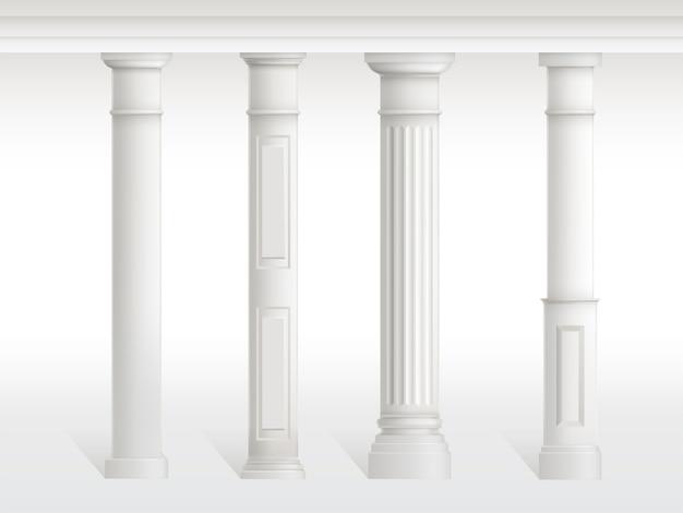 As colunas antigas ajustaram-se, balaustrada isolada no fundo branco. Vetor grátis
