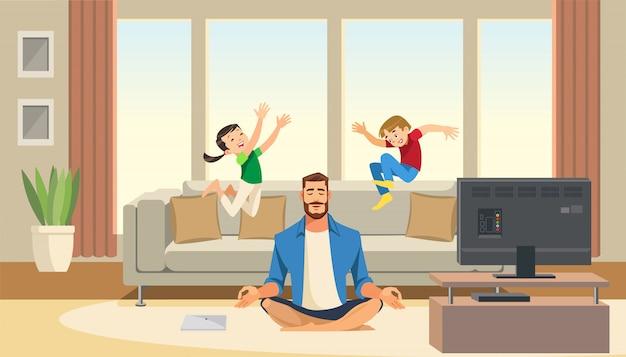 As crianças brincam e pular no sofá atrás do pai calmo e relaxado da meditação Vetor Premium