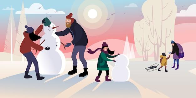 As crianças com o pai fazem um boneco de neve em um parque da cidade de inverno. ilustração vetorial plana Vetor Premium