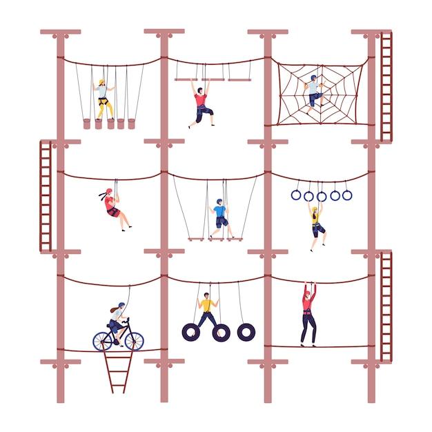 As crianças da atividade na aventura extrema rope o parque com equipamento de escalada na ilustração da escalada dos desenhos animados da infância. Vetor Premium
