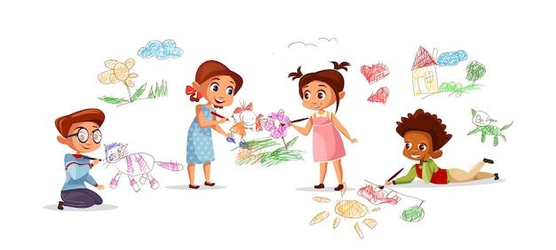 As crianças que desenham retratos com lápis do giz dos desenhos animados caçoam o jardim de infância. Vetor grátis