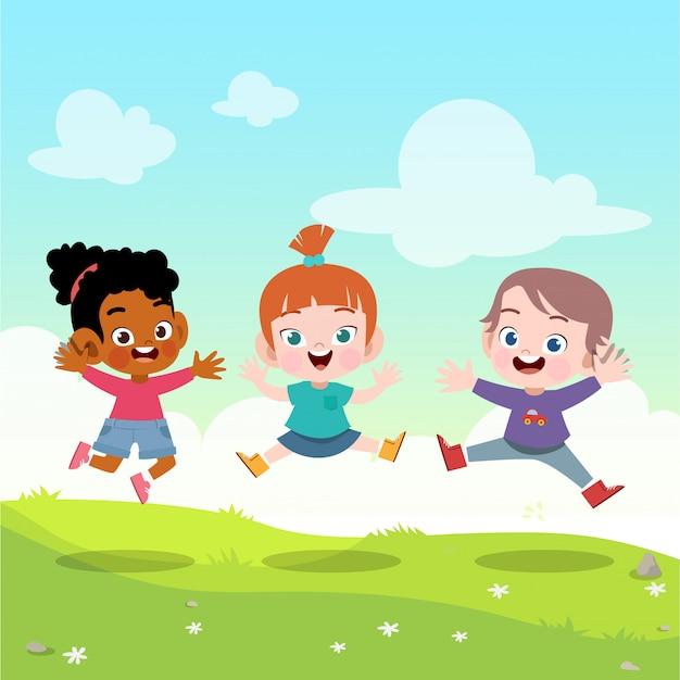 As crianças saltam juntos na ilustração vetorial jardim Vetor Premium