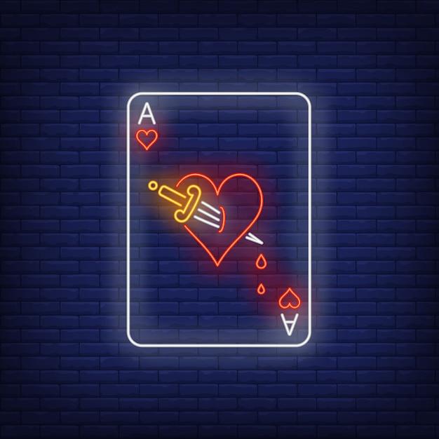 Ás, de, corações, com, punhal, cartão jogando, sinal néon Vetor grátis