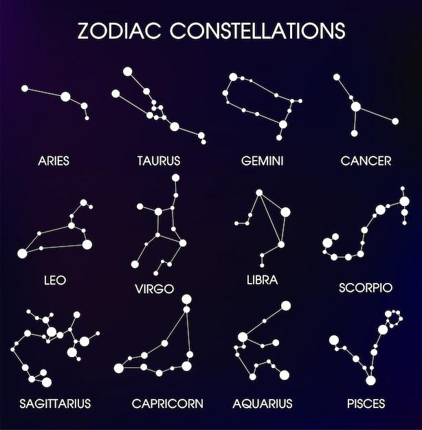 As doze constelações zodiacais. Vetor Premium