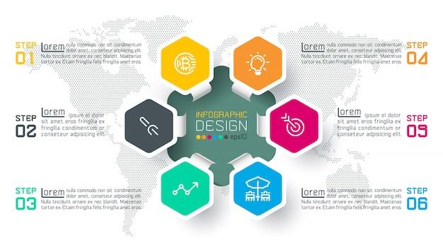 As etiquetas do hexágono do negócio dão forma à barra infographic dos círculos. Vetor Premium