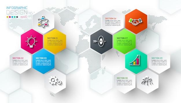 As etiquetas líquidas do hexágono do negócio dão forma à barra infographic. Vetor Premium