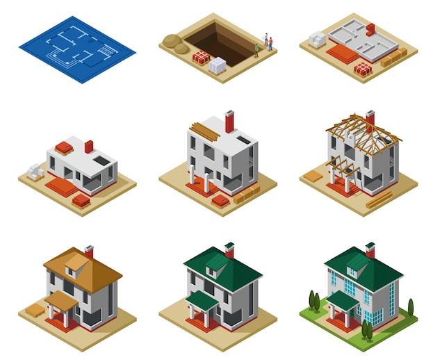 As fases de construção da casa do desenho ao edifício terminado isométrica ícones conjunto ilustração vetorial isolado Vetor grátis