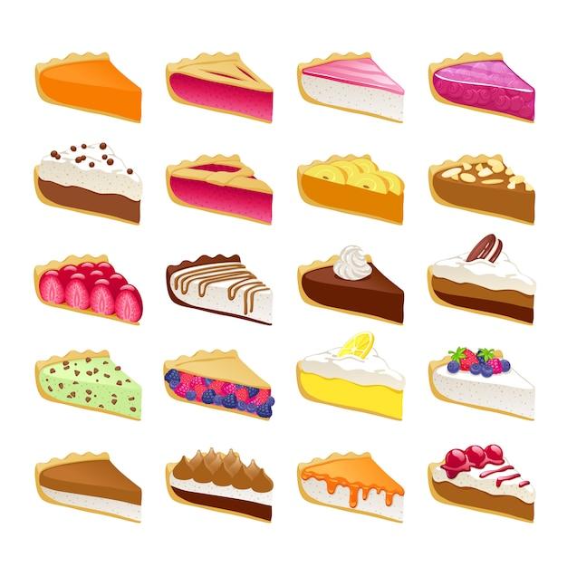 As fatias doces coloridas das tortas ajustaram a ilustração. Vetor Premium