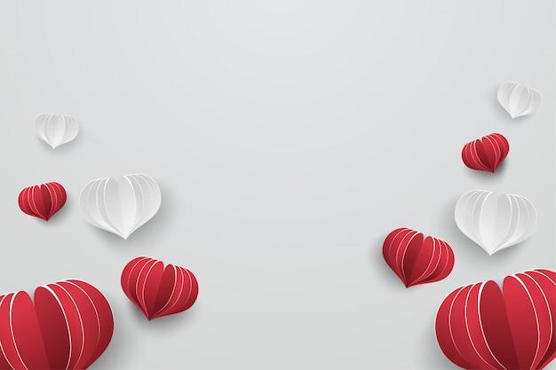 As formas clássicas dos corações projetam com fundo cinzento branco. Vetor Premium