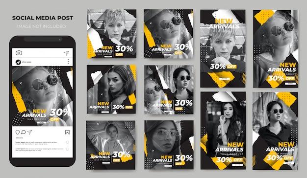 As histórias do instagram de moda moderna definem o feed de postagem nas mídias sociais Vetor Premium