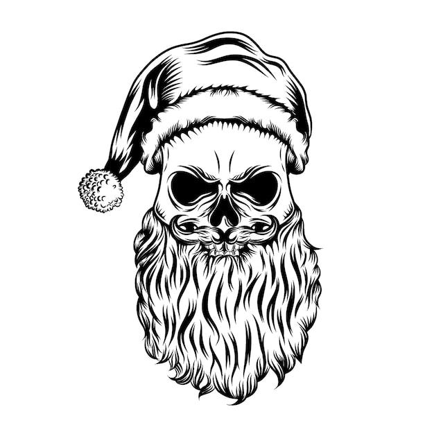 As ideias de tatuagens do crânio morto com o chapéu de natal e a bolinha Vetor Premium