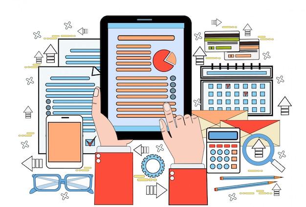 As mãos usam o gráfico de finanças de tablet digital relatório de dados estatísticos de tela de toque de homem de negócios, documentos de empresário no local de trabalho de mesa de escritório Vetor Premium