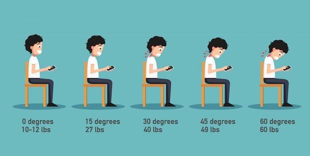 As más posturas dos smartphones, o ângulo da cabeça inclinada relacionado à pressão na coluna vertebral, a postura corporal. ilustração Vetor Premium
