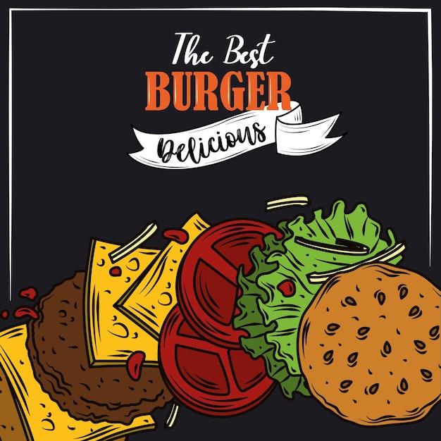 As melhores camadas de hambúrguer delicioso fast food produto design de fundo preto Vetor Premium
