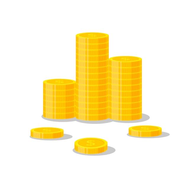 As moedas empilham a ilustração, pilha plana das finanças do ícone, pilha da moeda do dólar. pé de dinheiro dourado na peça empilhada, ouro, isolada no fundo branco - estilo simples Vetor Premium
