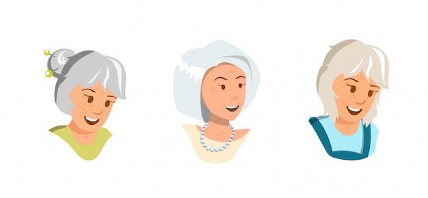 As mulheres idosas ajustadas do vetor do vetor exultam a sensação feliz. Vetor Premium