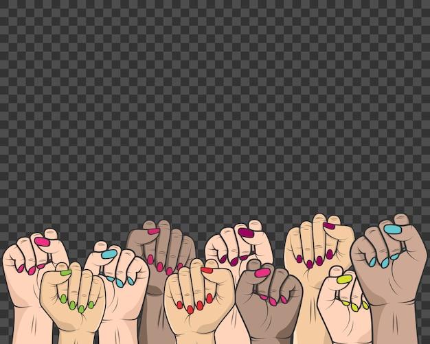 As mulheres levantaram as mãos na luta contra a opressão dos direitos das mulheres e das pessoas Vetor Premium
