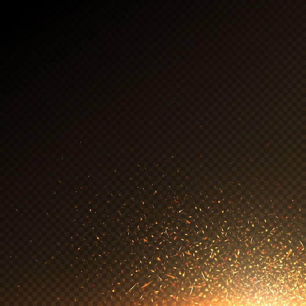 As partículas ardentes do fogo, carvão acendem o efeito abstrato do vetor isolado. partículas de luz de fogo, brilhante flamejante ilustração Vetor Premium