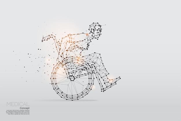 As partículas, arte geométrica de homem de negócios na cadeira de rodas. Vetor Premium