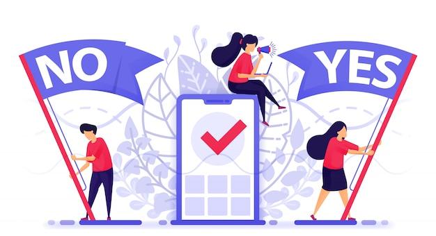 As pessoas agitam a bandeira para escolher sim ou não para dar feedback. Vetor Premium